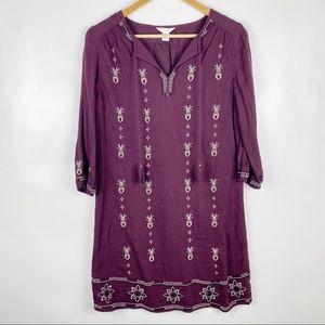 ⛄Caslon XS Petite Maroon Embroidered Tassle Dress